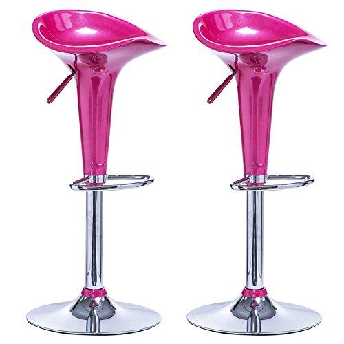 WOLTU BH25rs-2 Barhocker 2er Set, stufenlose Höhenverstellung, verchromter Stahl, Antirutschgummi, Kunststoff,360 Grad drehbar, Pink