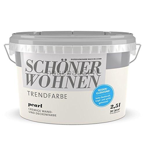 SCHÖNER WOHNEN FARBE Wand- und Deckenfarbe Trendfarbe Pearl, seidenglänzend, 2,5 l 2 l, Pearl