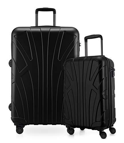 Suitline - 2-teiliges Koffer Set - Leichtes Handgepäck 55cm für alle Airlines + Check-In Reisekoffer 75cm, 4 Rollen, TSA Schloss, Schwarz
