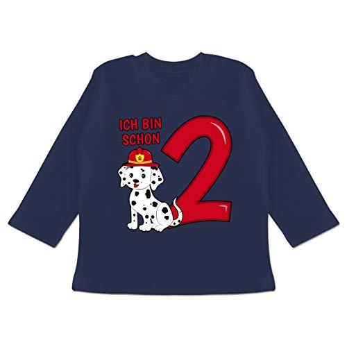 Geburtstag Baby - Ich Bin Schon 2 Feuerwehr Hund - 18-24 Monate - Navy Blau - BZ11 - Baby T-Shirt Langarm (Welpe Ein Ich Bin Kleiner)