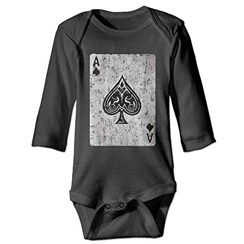 Huahai Unisex Cotton Long Sleeve Ace of Spades Card Vintage Newborn Baby Girls' Boys' Onesies Bodysuit Jumpsuit Vintage Baby Onesies