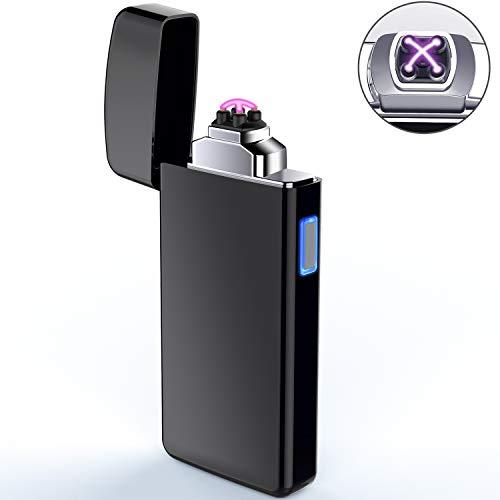 AngLink Elektronisches Feuerzeug, USB Elektro-Feuerzeug Dual Lichtbogen, Aufladbar Winddicht Lange Lebensdauer für Küche Grill Kerzen Zigaretten