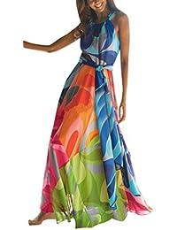Sail-Dream Damen Lang Kleid mit Bandagen Sommer Freizeit Blumen Kleid  Strandkleider Blusenkleider Tunikakleid… 2ef95c5c32