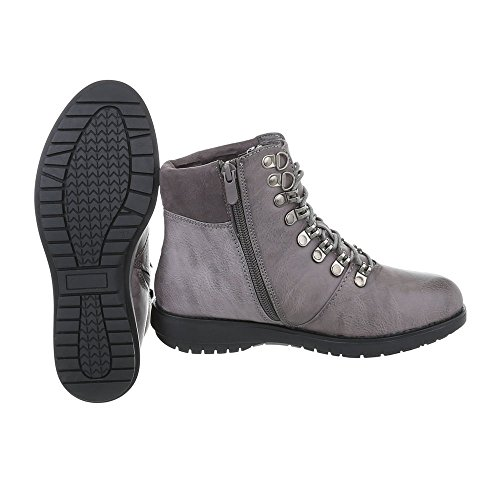 lacet Bottes Design Ital et bottines Chaussures a Gris Plat femme Bottines 5znwCq0