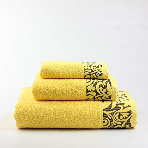 Juego de Toallas Baño de color amarillode algodón 100%
