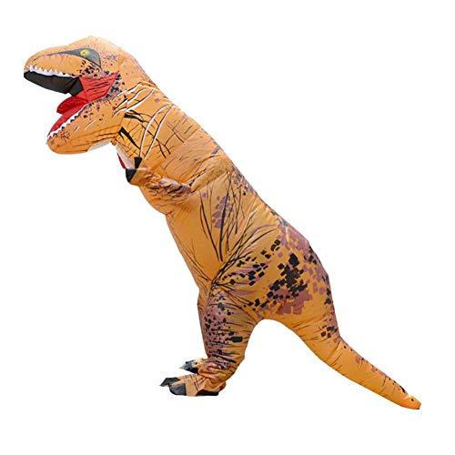 (Foru-1 Aufblasbares Dinosaurier-Kostüm für Erwachsene, Halloween, Cosplay-Anzug, Camel)