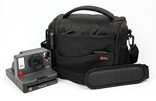 DURAGADGET Sacoche Noir/Orange pour Polaroid One Step 2, One Step 2 ViewFinder 9009, One Step+ 9010/9015 Appareil Photo instantané et Accessoires - Garantie 2 Ans