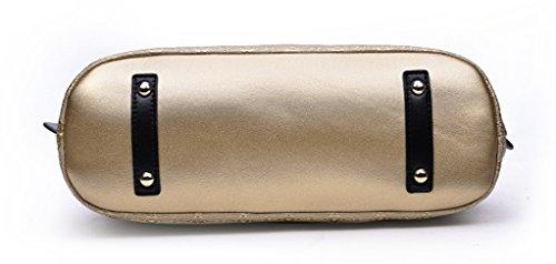 Longzibog Dual verstellbare Schultergurte und Hängeschlaufenband Mode Simple Style Fashion Tote Top Handle Schulter Umhängetasche Satchel Gold