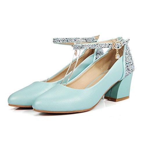 Bleu Femme VogueZone009 Souple Boucle Légeres à Correct Matière Pointu Chaussures Talon vnqR6Ba