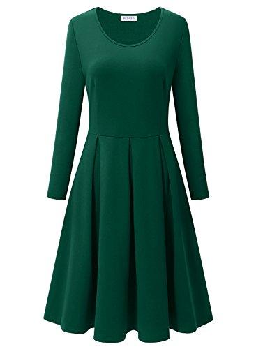 BULOTUS Damen Lange Ärmel Rundhals Stretch Skaterkleid Herbstkleid Fattern Basic A-Line Kleider (Dunkelgrün, XXL)