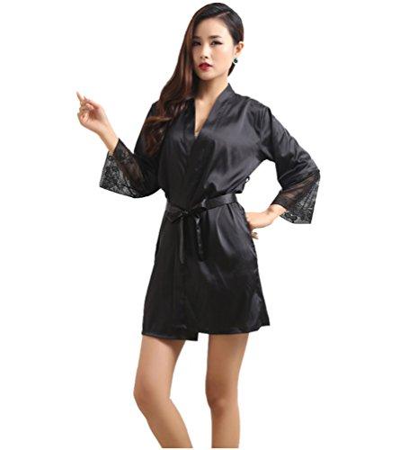 Honeystore Damen Morgenmantel Kimono Robe Bademantel Nachtwäsche kurz aus Satin mit Spitze knielangen Robe für Hochzeit & Party & Schlafzimmer Schwarz XXL