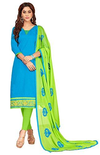 Priyavadhu Women's Slub Cotton straight Unstitched Salwar kameez Dress material (BLFNC09_Sky Blue_Free...