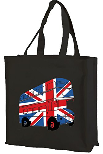 Best of British, London Bus Union Jack-Borsa per la spesa, in cotone (nero)