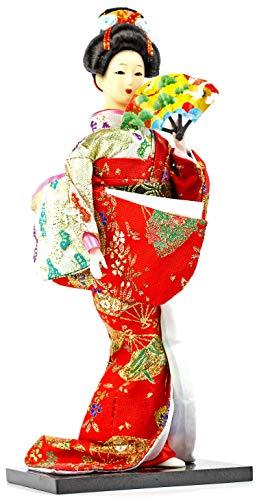 Authentische orientalische Geisha | stehend od. sitzend mit Fächer | traditionelle japanische Unterhaltungs-Künstlerin: Größe: Stehend mit Fächer: 29,5cm