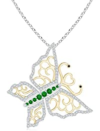 Emerald and Diamond Tilted Butterfly Pendant in Two Tone (2mm Emerald)