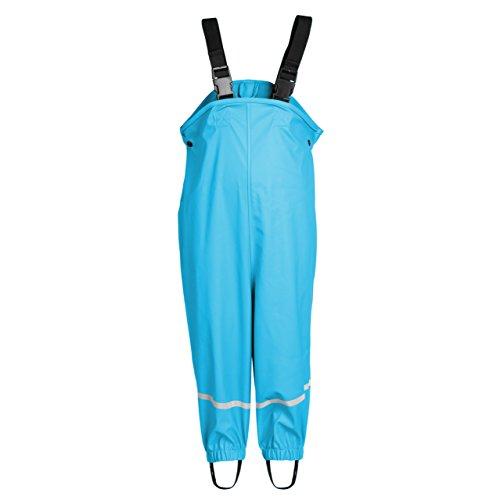smileBaby wasserdichte Kinder Regenhose Regenlatzhose mit verstellbaren Trägern und Schuhschlaufen Unisex in Hellblau 86