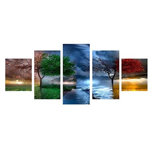 Xurgm 5D Full Bohrer Diamant Gemälde 5-Pictures Kombination Kits handgefertigt DIY Stickerei Naht Geschenk Arts Crafts für Haus Wand Büro Wohnzimmer Schlafzimmer Decor Baum -