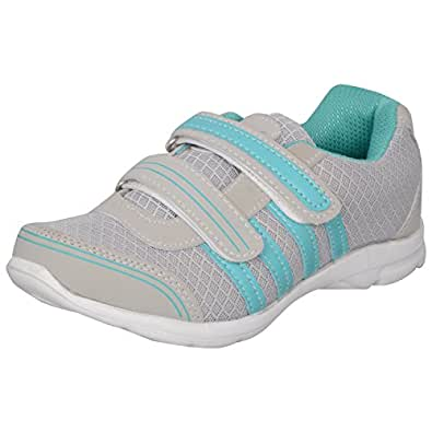 Acto Grey & Green Synthetic Sports Shoes for Women (Size: 4)