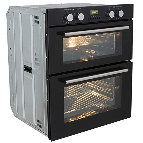 41bAz0OpYVL. SS500  - SIA DO101 60cm Black Built Under Double Electric Fan Oven With Digital Timer