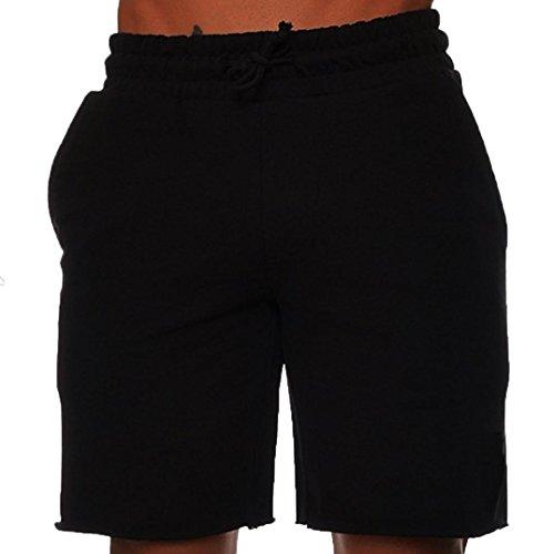 MOIKA Herren Sporthose, Sommer Männer Sport Training Bodybuilding Shorts Workout Fitness Kurze Hosen aus Stretch-Material Sport Laufen Yoga Sportlich Short Pants Freizeitshorts(L,Schwarz)