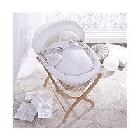 Izziwotnot Premium Gift White on Natural Wicker Moses Basket