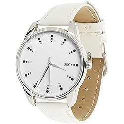 Damen-Armbanduhr Zifferblatt weiß Armband Weiß-Ziz Accessories