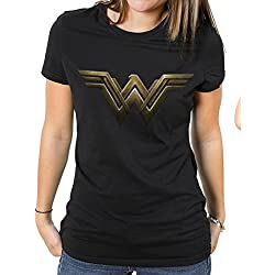 Wonder Woman Movie-Main Logo, Camiseta Para Mujer, Negro, 42 (Tamaño Fabricante:X-Large)