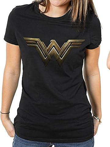 Officiellement Licensed Ladies Wonder Woman Logo du film Black Fitted T-Shirt