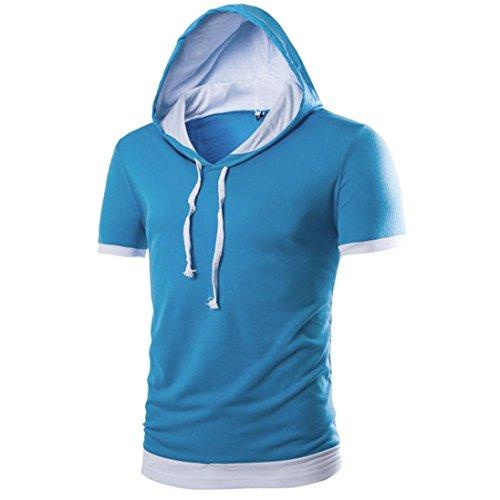 Oyedens Herren Sommer Neues Modernes Mit Kapuze Festes Kurzes ÄRmel T Shirt Blau