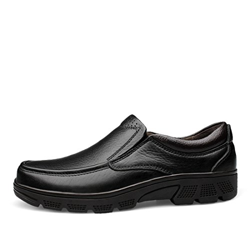 Minitoo Mens Round Toe Soft Comfortable Slip-On Walking Shoes Black