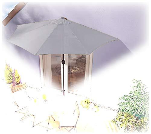 IMC® Sonnenschirm halbrund grau Balkon mit Kurbel Wandschim Marktschirm Balkonschirm Terrasse Garten Sonnenschutz Halbschirm halb Polyester