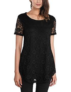 DJT-Camiseta para Mujer de Encaje Mangas Cortas