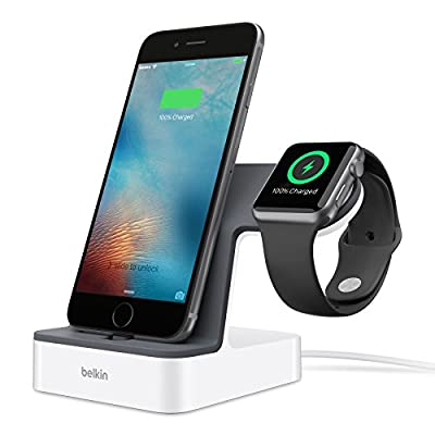 Belkin PowerHouse Charge Dual Docking Station for Apple Watch + iPhone with 1.2 m Charging Cable (MFi Certified)