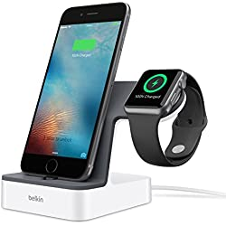 Belkin PowerHouse Dual Apple Watch + iPhone Charging Stand with 1.2 m Charging Cable (Integrated Charger) - White/Black