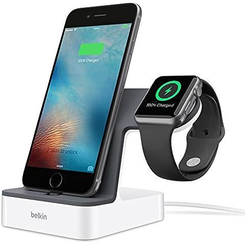 Belkin F8J200VFWHT - Base de carga PowerHouse para Apple Watch y iPhone (carga magnética, conector lightning ajustable para funda, 3,4 A de corriente, cable de 1,2 m),