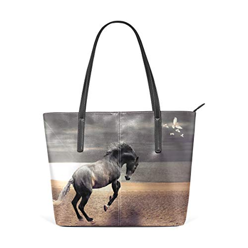 XGBags Custom Damen Pu Leder Umhängetasche Handtasche Womens Purse Brown Horse Running For Pigeons PU Leather Shoulder Tote Bag -