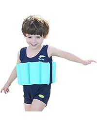 Bañador de una pieza con flotador integrado, para niños y niñas, Infantil, azul marino, 7 años
