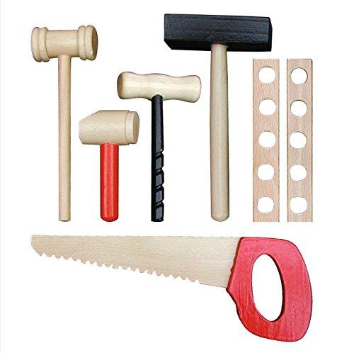roba Werkbank, grosse Spielwerkbank aus Holz, Meister-Werkbank mit umfangreichem Werkzeug Set, grosser Arbeitsplatte, Ablage u, 3 Schubfächern - 3