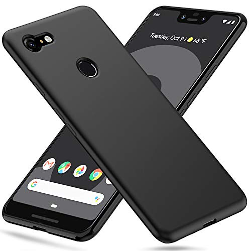 Peakally Google Pixel 3 XL Hülle, Matte Oberfläche Soft Hüllen [Ultra Dünn] [Kratzfest] TPU Schutzhülle Case Weiche Handyhülle für Google Pixel 3 XL -Schwarz