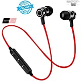 HONEY MONEY S2 Bluetooth Sports Magnet Wireless Headset With Mic And Noise Cancelling (Red)