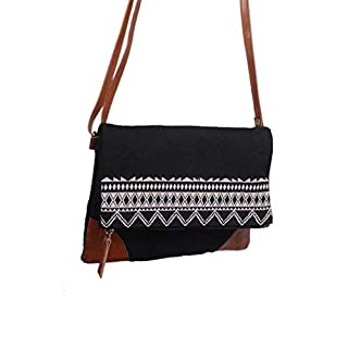 THE LEATHER WAREHOUSE Men/Women Cow Leather Aztec Designer Cross Body Sling Bag/Fold In Zipper Bag, Leather, Wool, Red And Green, Handmade H-10