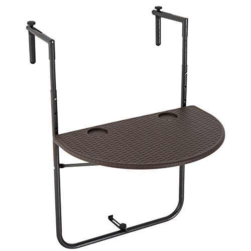 Outsunny® Mesa de Balcón Colgante y Plegable Mesa de Pared Ajustable Multifuncional Barandilla Metal y HDPE