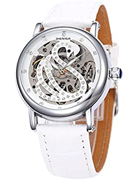 Elegant Schwan Strass Durchbrochenes Muster Lederband Damen Automatik Mechanische Uhr, Weiß