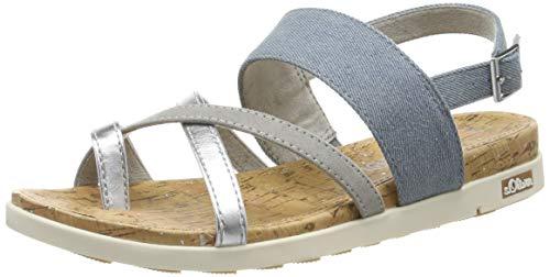 s.Oliver 5-5-28114-22, Sandali con Cinturino alla Caviglia Donna, Blu (Jeans Comb. 846), 37 EU
