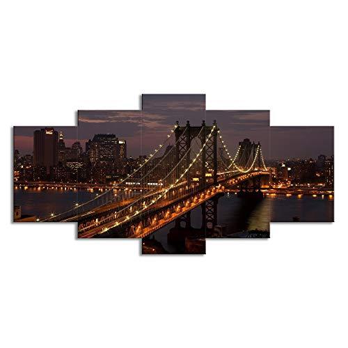 ChuangYing 5 Stück von New York Manhattan Bridge Nacht Aufkleber Wanddekoration in dekorative Malerei Wand Aufkleber -