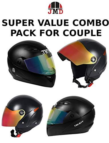JMD HELMETS Couple Combo Full and Open Face Helmet with Mirror Visor (Black, Medium) - Pack of 2