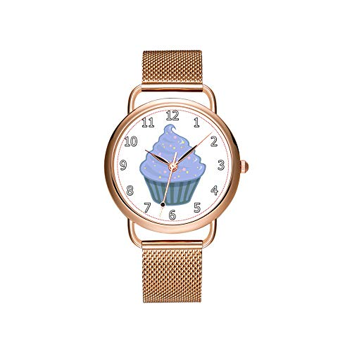 Frauen Uhren Marke Damen Mesh Gürtel ultradünne Uhr wasserdichte Uhr Quarzuhr Weihnachten Nette Blaue Cupcake Swirl Icing Mit Streuseln Armbanduhr