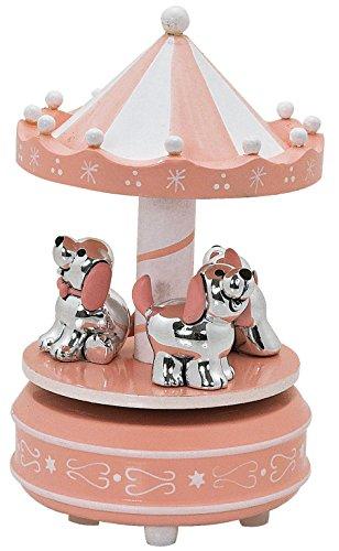 Giostrina che gira con carillon legno rosa con cagnolini argentati e smaltati cm10x18 made in italy con scatola rifinita