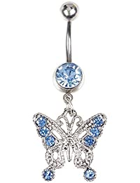 BODYA Stainless Steel 14G Shiny Cubic Zircon Body Jewelry Piercing Blue Butterfly Dangle Belly Button Ring Barbell silver