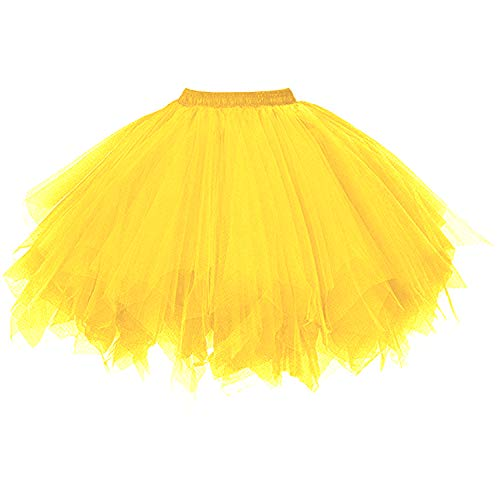 DresseverBrand Damen Petticoat 50er Rockabilly Jahre Retro Tutu Ballet Tüllrock Cosplay Crinoline Gold Large/X-Large
